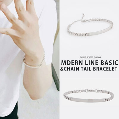 BTS SUGA STYLE! MODERN LINE BASIC CHAIN TAIL BRACELET(2type)