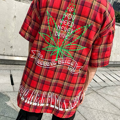 [UNISEX] LEAF BACK PRINT SHORT SLEEVE CHECK SHIRTS(3color)