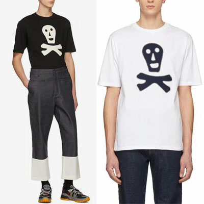 [UNISEX] SMILE SKULL PATCH SHORT SLEEVE TSHIRTS(2color, 2size)