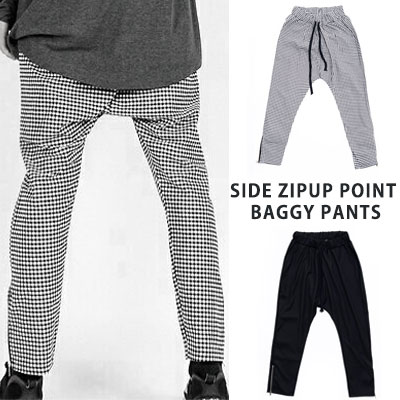 [UNISEX] SIDE ZIPUP POINT SOLID BLACK CHECK BAGGY PANTS(2color)