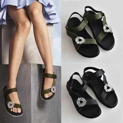 【RANG SHE】[22.5 ~ 25.0cm]CRYSTAL BUCKLE SPORTY SANDAL(2color)