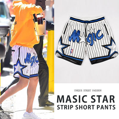 [UNISEX] JUSTIN BIEBER st. MAGIC STAR STRIP SHORT PANTS