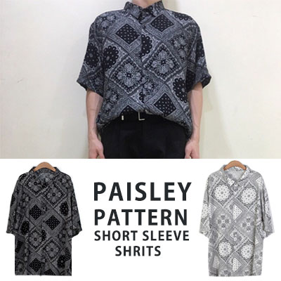 [UNISEX] PAISLEY PATTERN SHORT SLEEVE SHIRTS(2color)