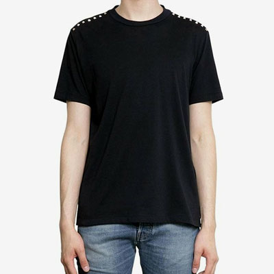 [UNISEX] SHOULDER LINE STUD POINT SHORT SLEEVE T-SHIRTS(2color 4size)