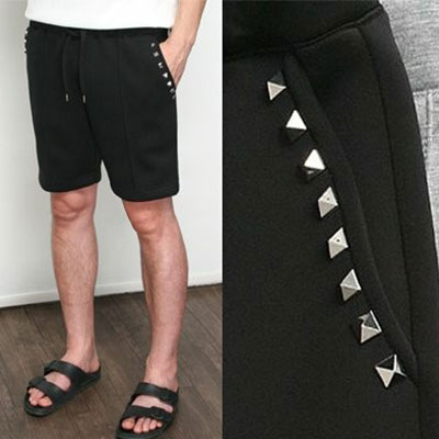 [UNISEX] POCKET LINE STUD NEOPRENE SHORT PANTS(2color 2size)