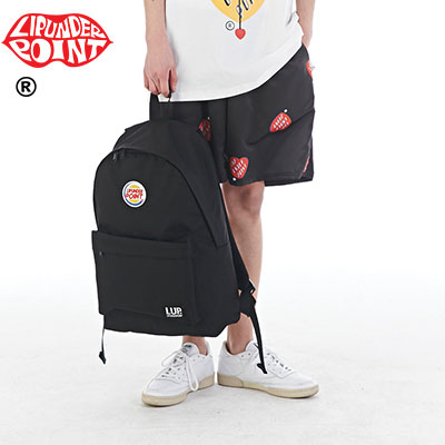 [LIP・UNDER・POINT]  HAMBURGER LOGO BACKPACK -BLACK