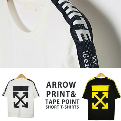 [UNISEX] ARROW PRINT TAPE POINT SHORT Tshirts(2color)