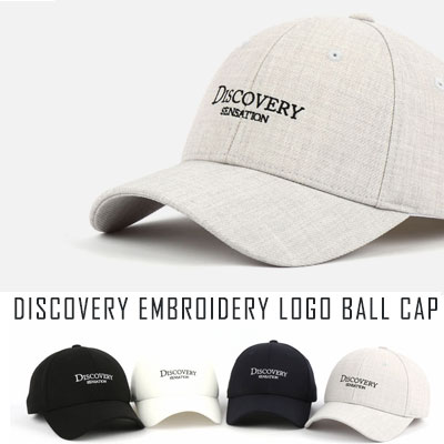 [UNISEX] DISCOVERY EMBROIDERY LOGO BALL CAP(4color)