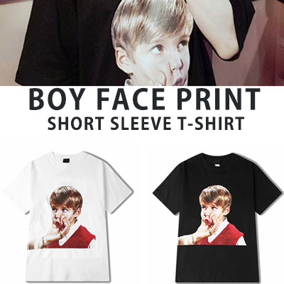 [UNISEX] BOY FACE PRINT SHORT SLEEVE TSHIRTS(2color)