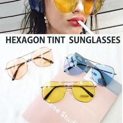 [UNISEX] HEXAGON TINT COLOR SUNGLASSES(5color)