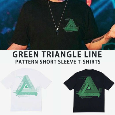 [UNISEX] GREEN TRIANGLE LINE PATTERN SHORTS SLEEVE TSHIRTS(2color 2size)