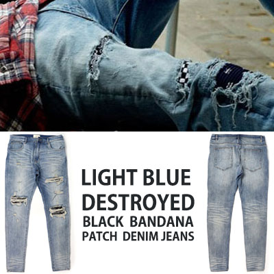 LIGHT BLUE DESTROYED BLACK BANDANA PATCH DENIM JEANS(4size)