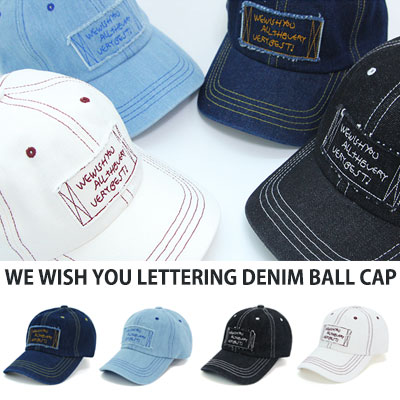 [UNISEX] WE WISH YOU LETTERING DENIM BALL CAP(4color)