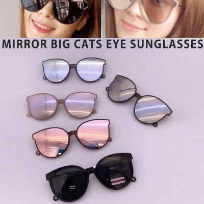 MIRROR BIG CATS EYE SUNGLASSES(5color)