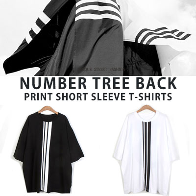 [UNISEX] NUMBER TREE BACK PRINT SHORT SEEVE TSHIRTS(2color)
