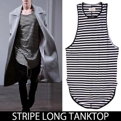 ★2018 NEW VER.★ LONG STRIPE TANK TOP