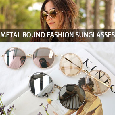 [UNISEX] METAL ROUND FASHION SUNGLASSES(4color)