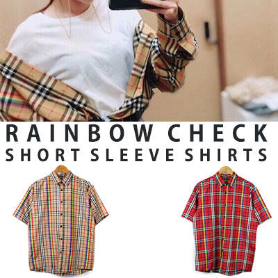 [UNISEX] Sandara st. RAINBOW CHECK SHORT SLEEVE SHIRTS(2color)