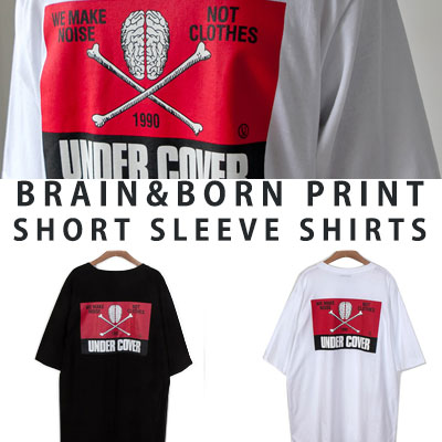[UNISEX] BRAIN BORN PRINT SHORT SLEEVE SHIRTS(2color)
