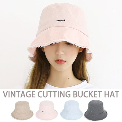 [UNISEX] VINTAGE CUTTING BUCKET HAT(4color)