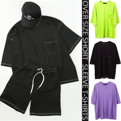 [UNISEX] ONE POCKET/STITCH POINT OVERSIZE SHORT SLEEVE /Tshirts,pants,set(3color)