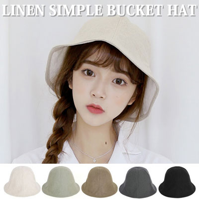 [UNISEX] LINEN SIMPLE BUCKET HAT(5color)