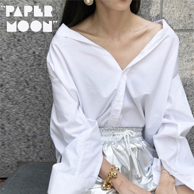 【PAPER MOON】COTTON PINCHED SHIRTS - white