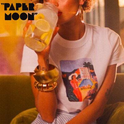 【PAPER MOON】MADAM PRINT TSRHITS -white
