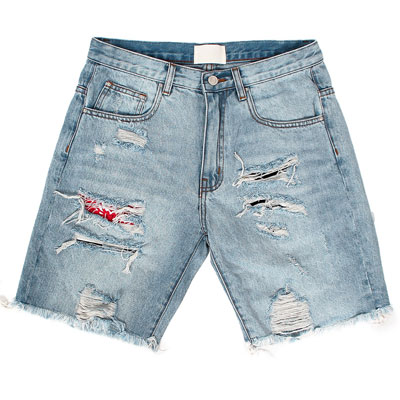 DESTROYED BANDANA PATCH DENIM SHORT JEANS(4size)
