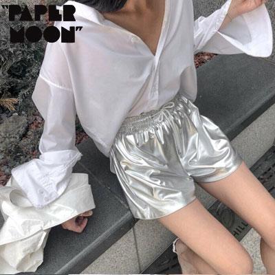 【PAPER MOON】METALLIC SHORTS -silver