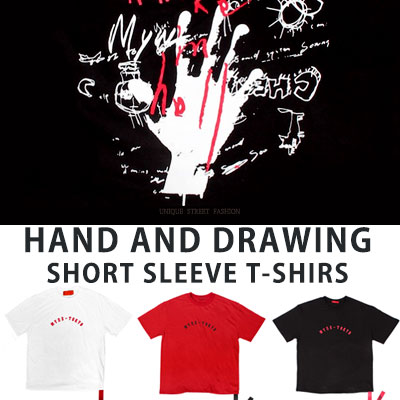 [UNISEX] HAND AND DRAWING SHORT SLEEVE TSHIRTS(3color)