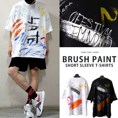 [UNISEX] BRUSH PAINT SHORT SLEEVE TSRHITS(2color)