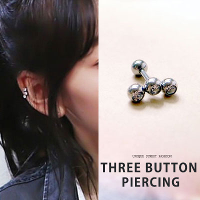 SNSD Taeyeon st. THREE BUTTON PIERCING[surgical steel]