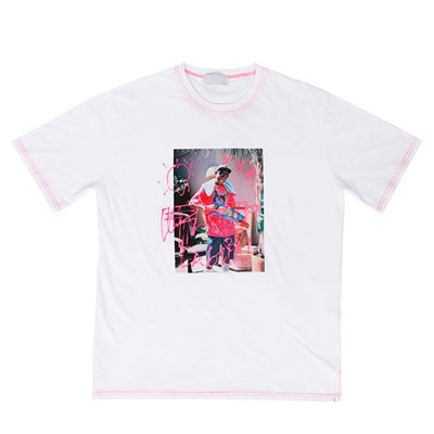 [UNISEX] PINK STITCH LINE SHORT SLEEVE TSHIRTS(2color)