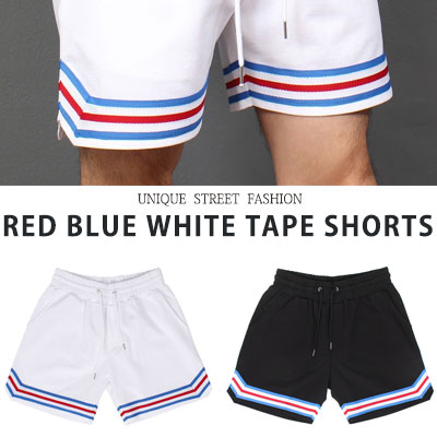 [UNISEX] RED BLUE WHITE TAPE SHORTS(2color)
