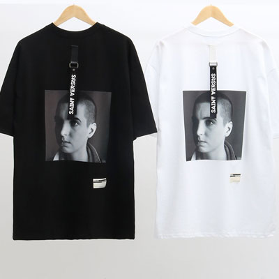 [UNISEX] STRAP POINT HUMAN PRINT SHORT SLEEVE TSHIRTS(2color)