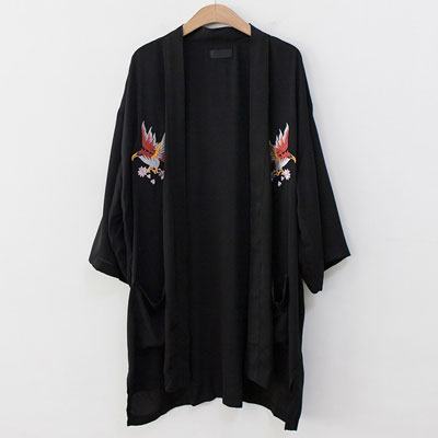 [UNISEX] EAGLE EMBROIDERY ROBE CARDIGAN(2color)
