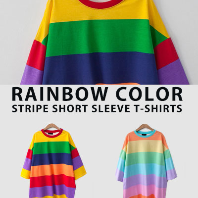 [UNISEX] RAINBOW COLOR STRIPE SHORT SLEEVE TSHIRTS(2color)