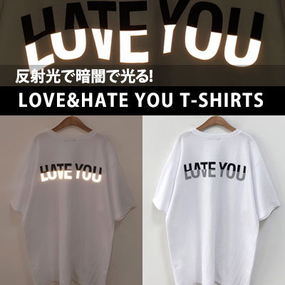 [UNISEX] LOVE&HATE YOU HALF PRINT SHORT SLEEVE TSHIRTS(2color)