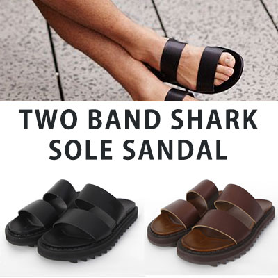[25.0 ~ 28.0cm][cowhide] TWO BAND SHARK SOLE SANDAL(2color)