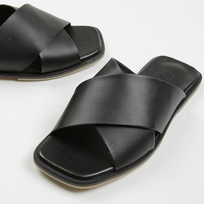 [25.0-28.0cm][COW LEATHER] CROSS BAND LEATHER SANDALS