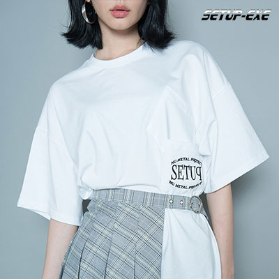 【SETUP-EXE】DOUBLE POCKET T-SHIRT - WHITE