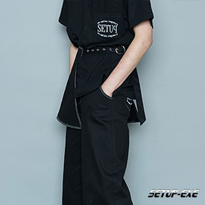 【SETUP-EXE】BELT WRAP PANTS - BLACK DENIM