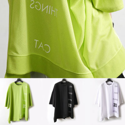 [UNISEX] HALF MESH UNBALANCE CUTTING SHORT SLEEVE TSHIRTS(3color)