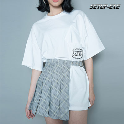 【SETUP-EXE】CHECK BELT WRAP SKIRT - YELLOW