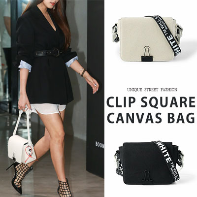 Bora st. CLIP SQUARE CANVAS BAG(2color)