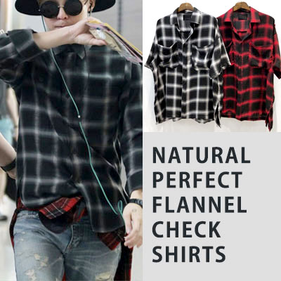 [UNISEX] gd/gdragon/bigbang NATURAL PERFECT FLANNEL CHECK SHIRTS(2color)