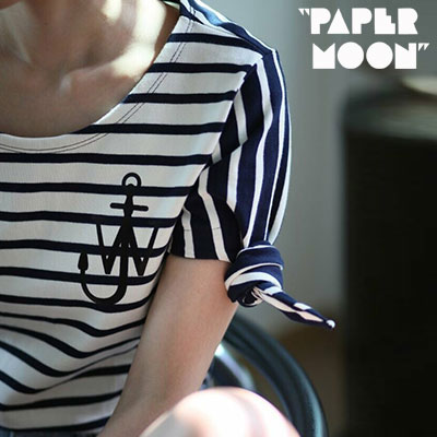 【PAPER MOON】ANCHOR LOGO SIDE RIBBORN SHORT SLEEVE TSHIRTS -ivoryxnavy