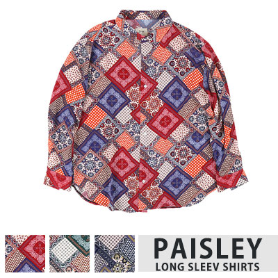 [UNISEX] PAISLEY LONG SLEEVE SHIRTS(3color)