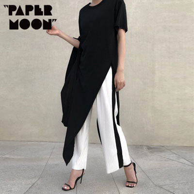 【PAPER MOON】BLACK UNBALANCE SLIT LONG TSHIRTS -black